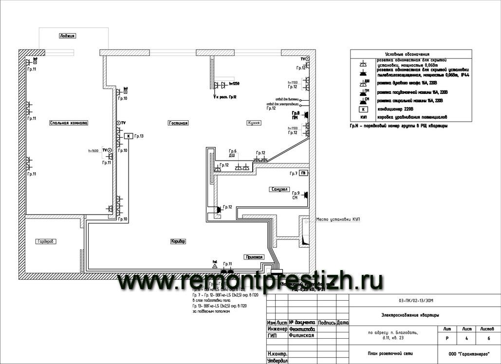 Схема розеток квартиры